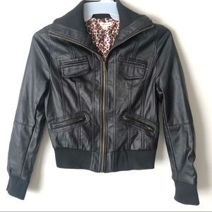 Black Faux leather bomber jacket Zenana Outfitters